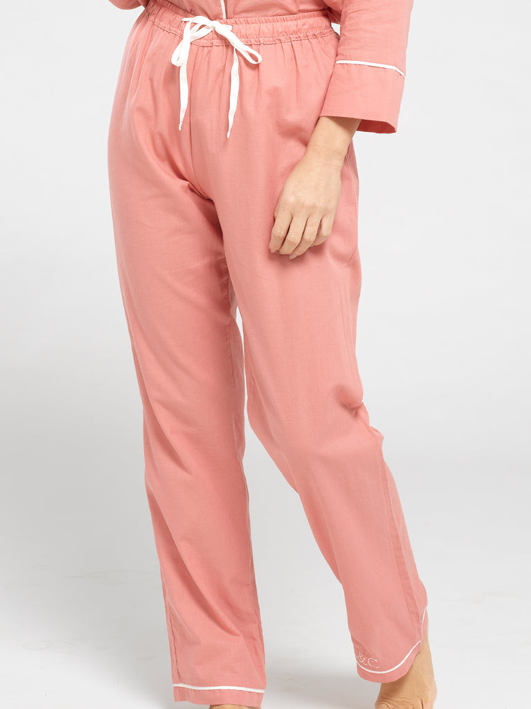 Dusk Pink Luxury Monogrammed Women's Pyjama Bottoms | Look & Cover
