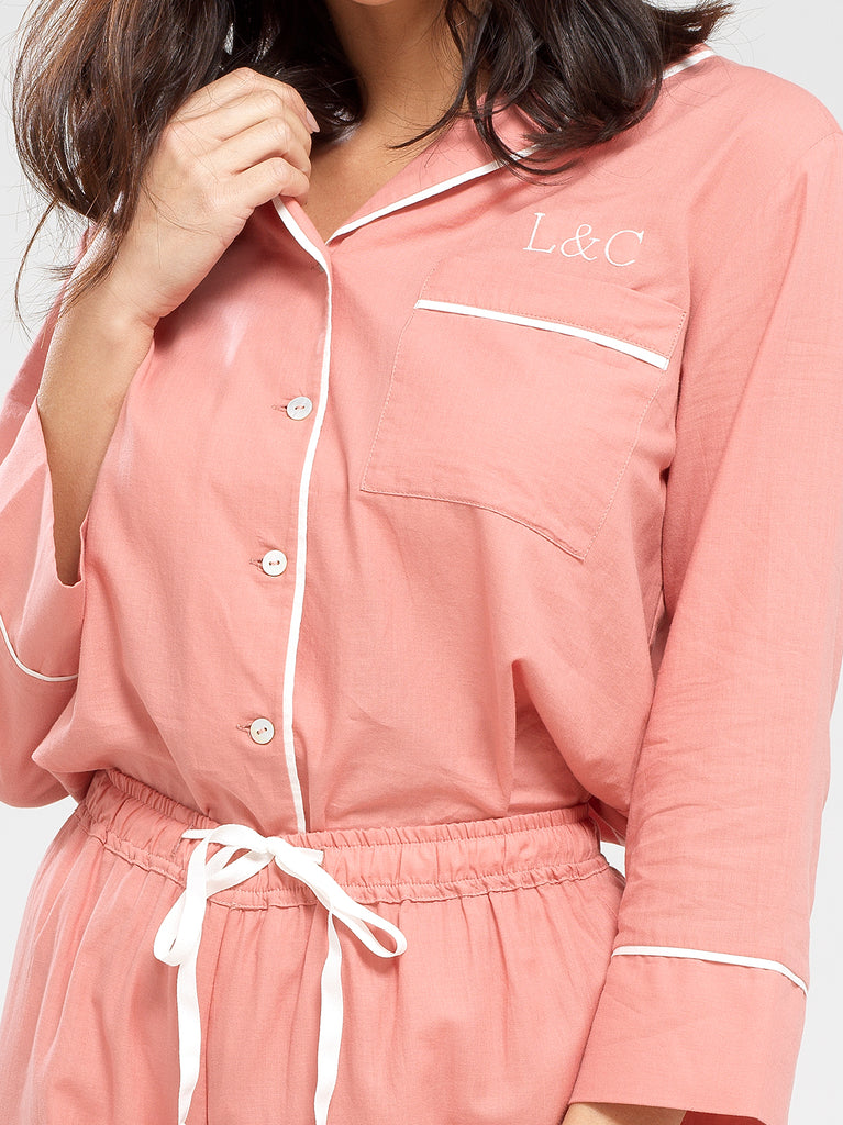Dusk Pink Luxury Monogrammed Women's Pyjama Shirt | Look & Cover