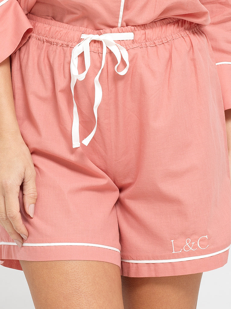 Dusk Pink Luxury Monogrammed Women's Pyjama Shorts | Look & Cover