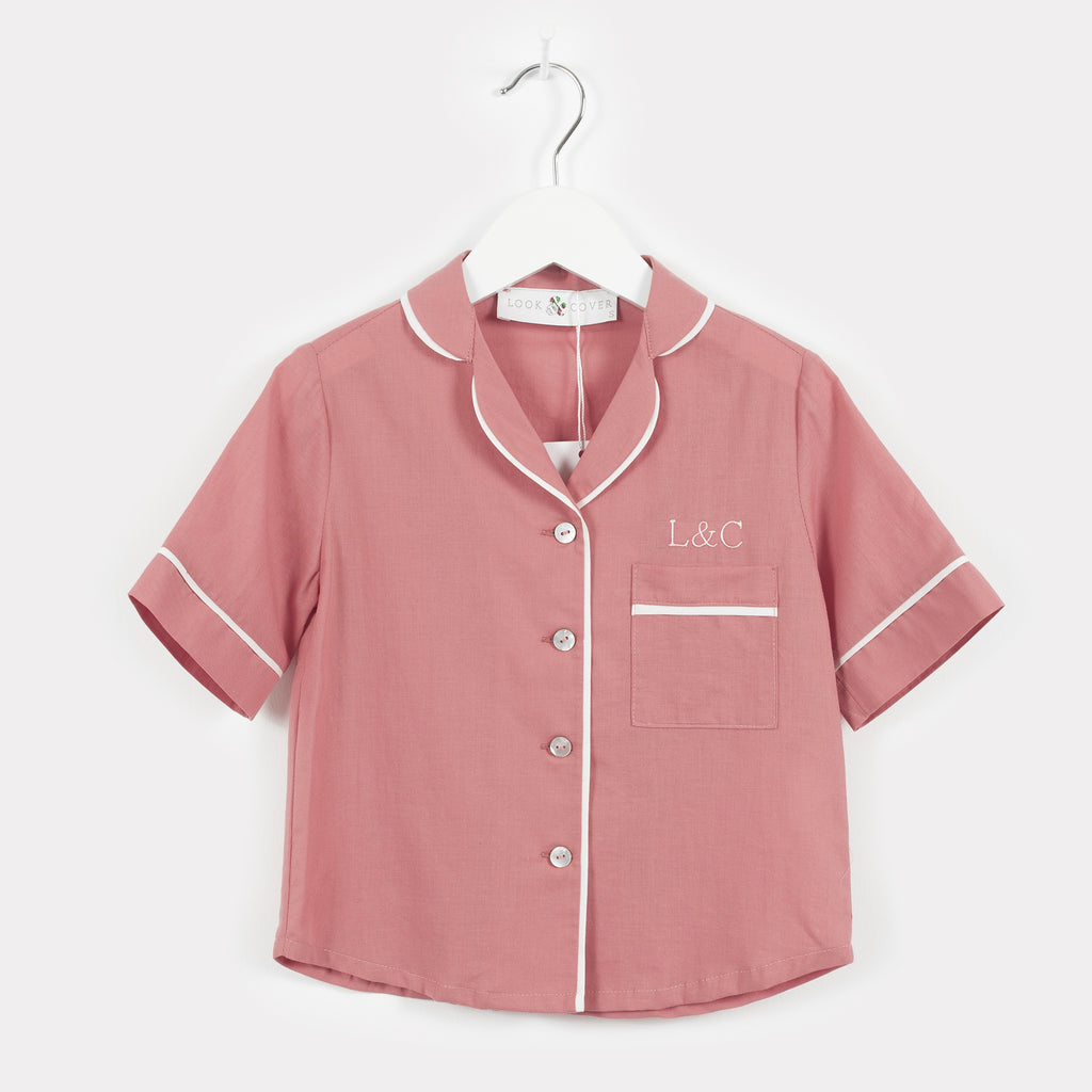 Dusk Pink Monogrammed Children's Pyjamas | Look & Cover