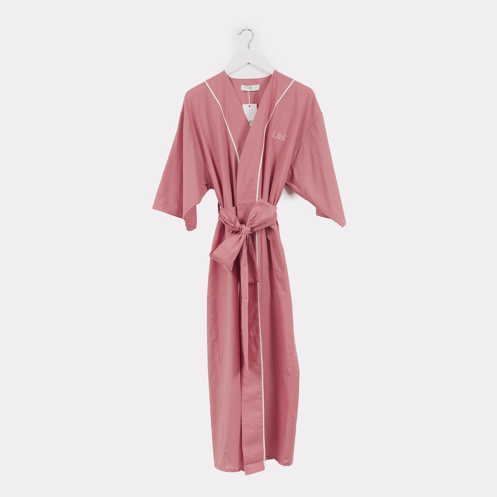 Dusky Pink Luxury Monogrammed Women's Dressing Gown | Look & Cover