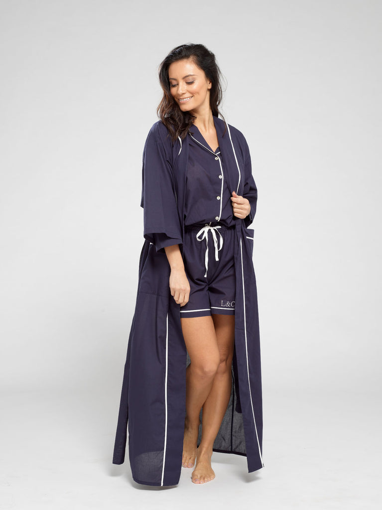 Midnight Blue Luxury Monogrammed Women's Dressing Gown | Look & Cover