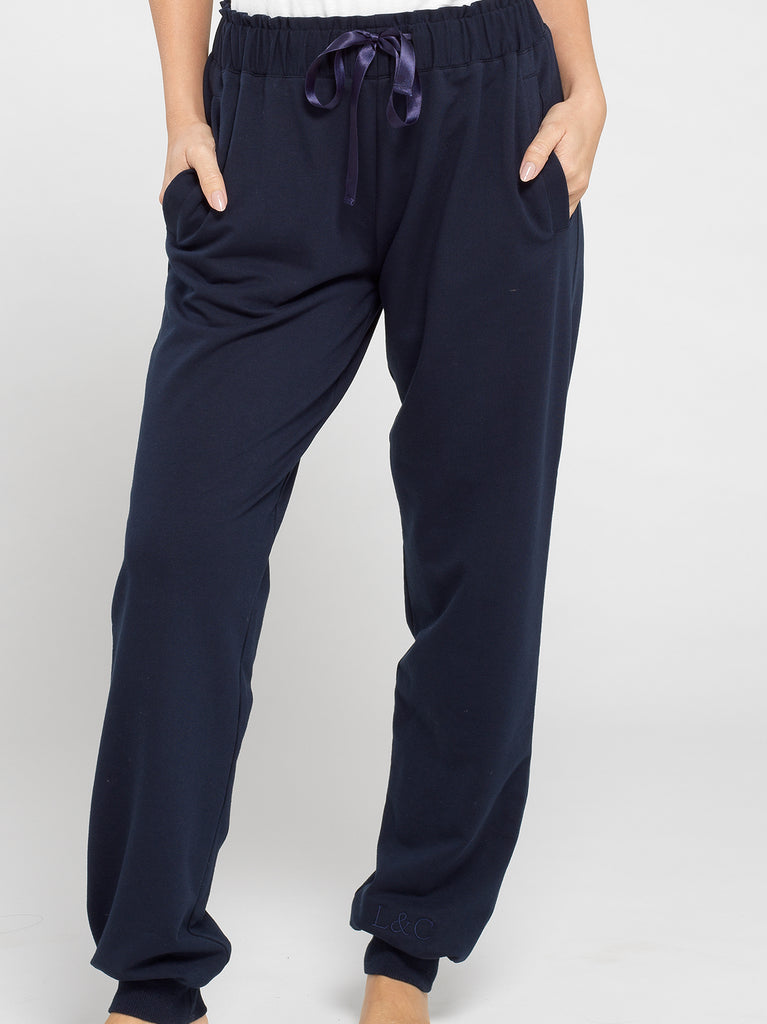 Midnight Blue Luxury Monogrammed Women's Loungewear Joggers | Look & Cover