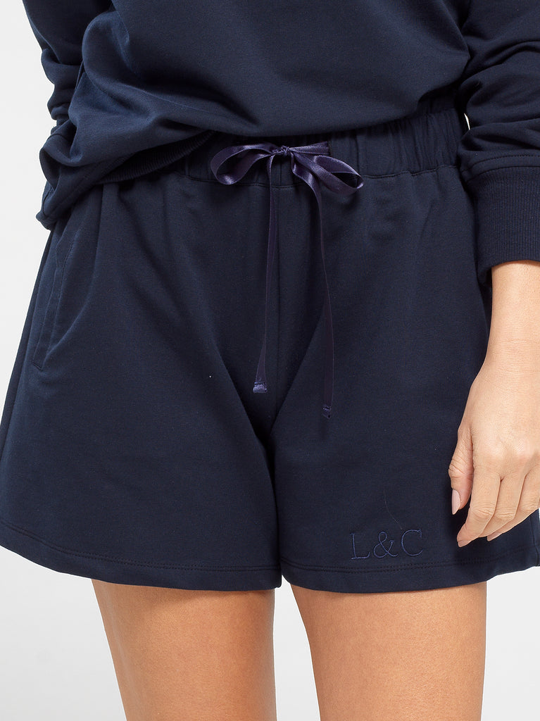 Midnight Blue Luxury Monogrammed Women's Loungewear Shorts | Look & Cover