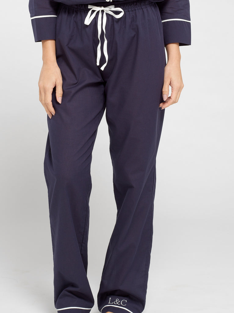 Midnight Blue Luxury Monogrammed Women's Pyjama Bottoms | Look & Cover
