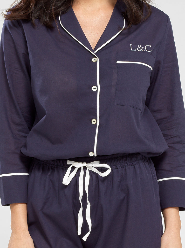Midnight Blue Luxury Monogrammed Women's Pyjama Shirt | Look & Cover