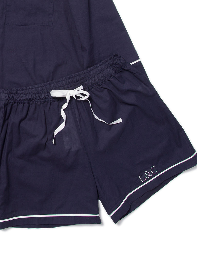 Midnight Blue Luxury Monogrammed Women's Pyjama Shorts | Look & Cover