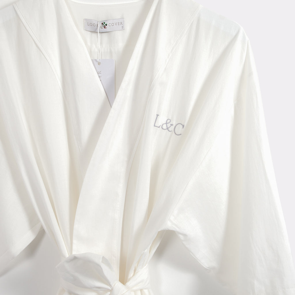 Natural White Luxury Monogrammed Women's Dressing Gown | Look & Cover