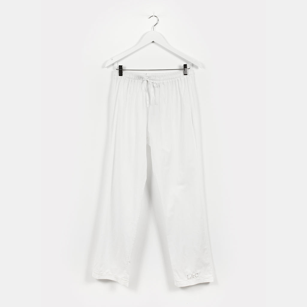 Natural White Luxury Monogrammed Women's Pyjama Bottoms | Look & Cover