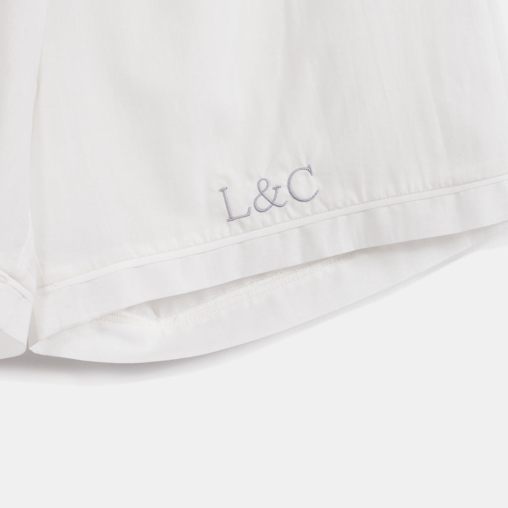 Cloud White Luxury Monogrammed Women's Pyjama Shorts | Look & Cover