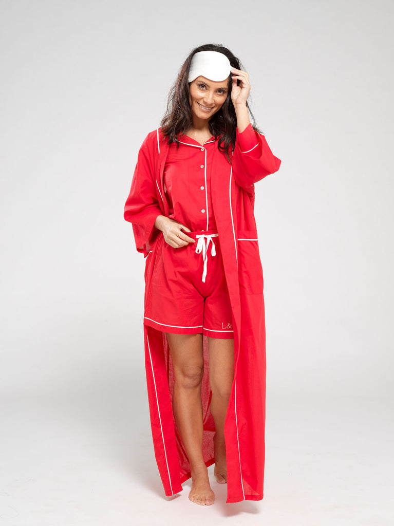 Rose Red Luxury Monogrammed Women's Dressing Gown | Look & Cover