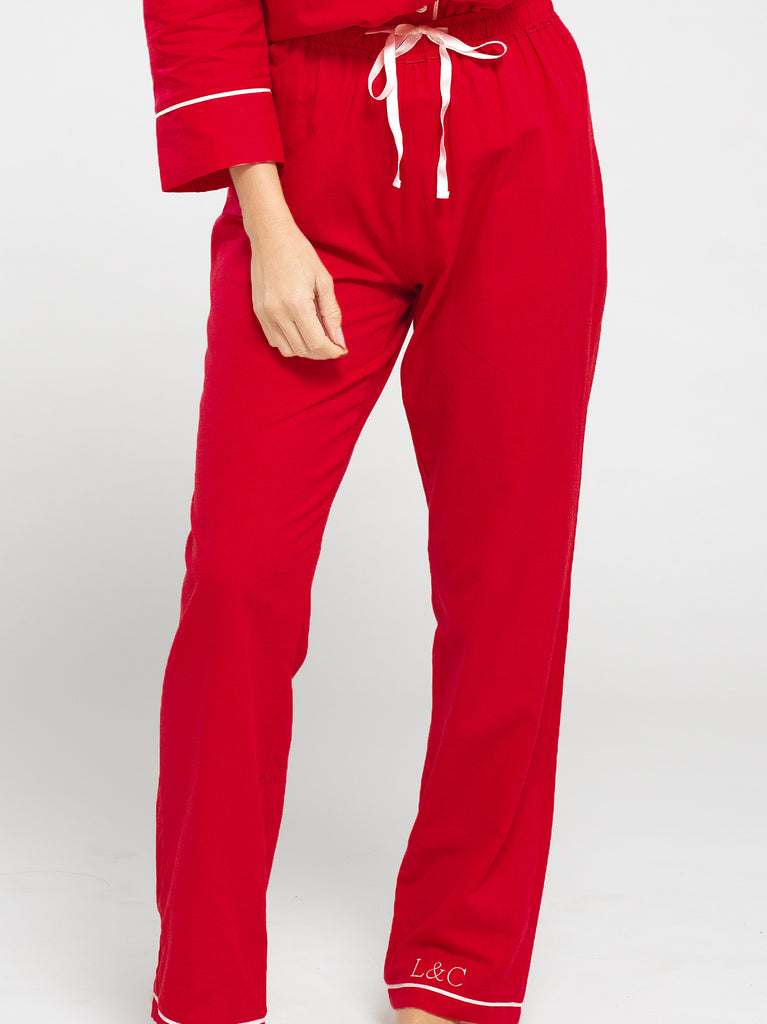 Rose Red Luxury Monogrammed Women's Pyjama Set Long | Look & Cover