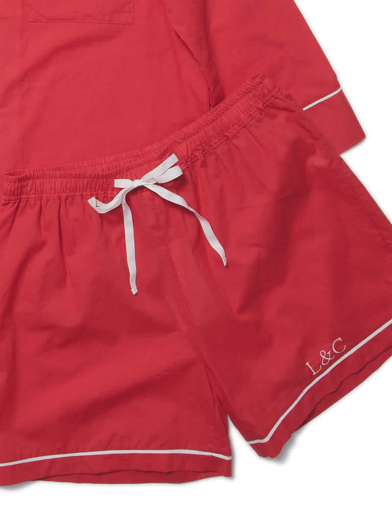 Rose Red Luxury Monogrammed Women's Pyjama Shorts | Look & Cover