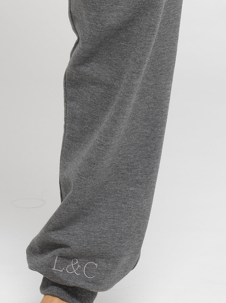 Sable Gray Luxury Monogrammed Women's Loungewear Joggers | Look & Cover