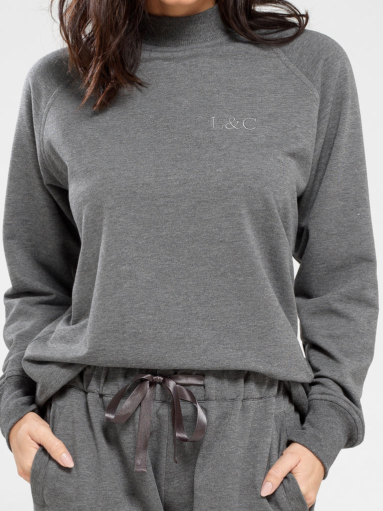 Sable Gray Luxury Monogrammed Women's Loungewear Sweat | Look & Cover