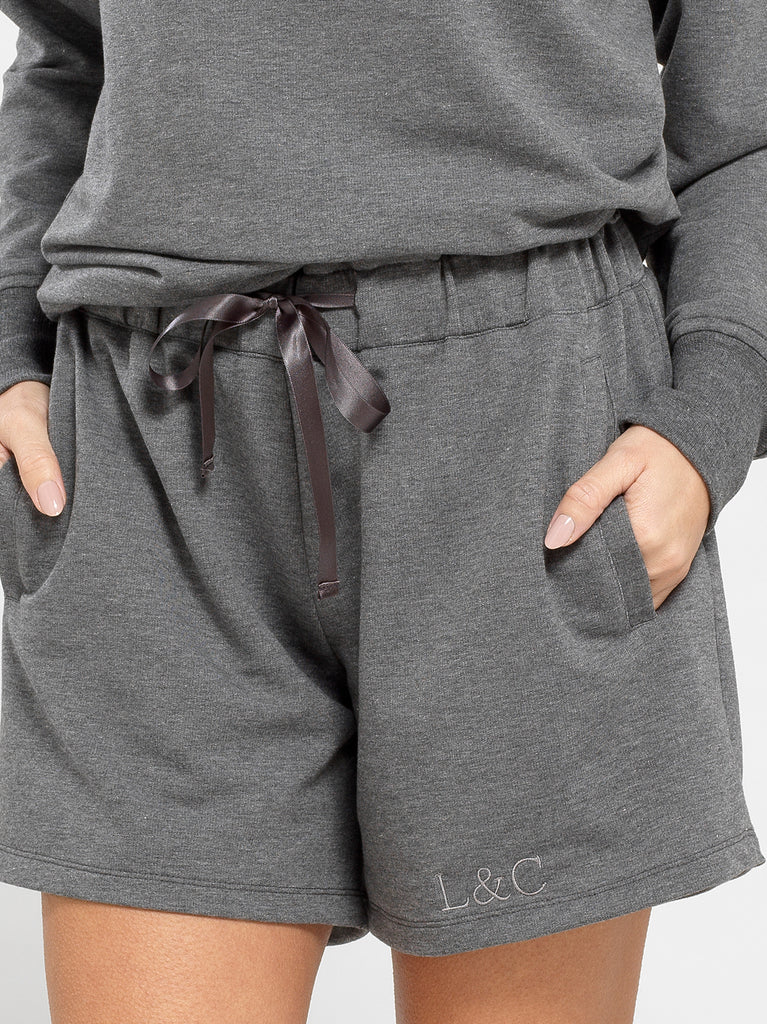 Sable Gray Luxury Monogrammed Women's Loungewear Shorts | Look & Cover