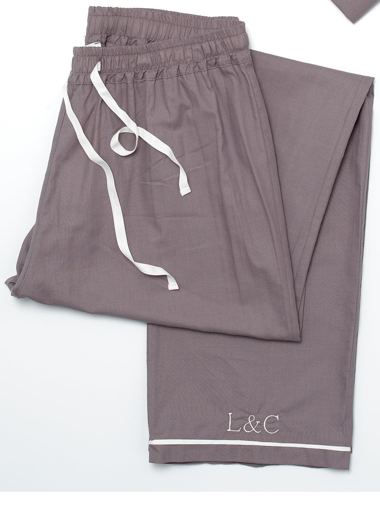 Sable Gray Luxury Monogrammed Women's Pyjama Bottoms | Look & Cover