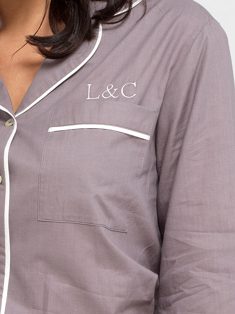 Sable Gray Luxury Monogrammed Women's Pyjama Shirt | Look & Cover