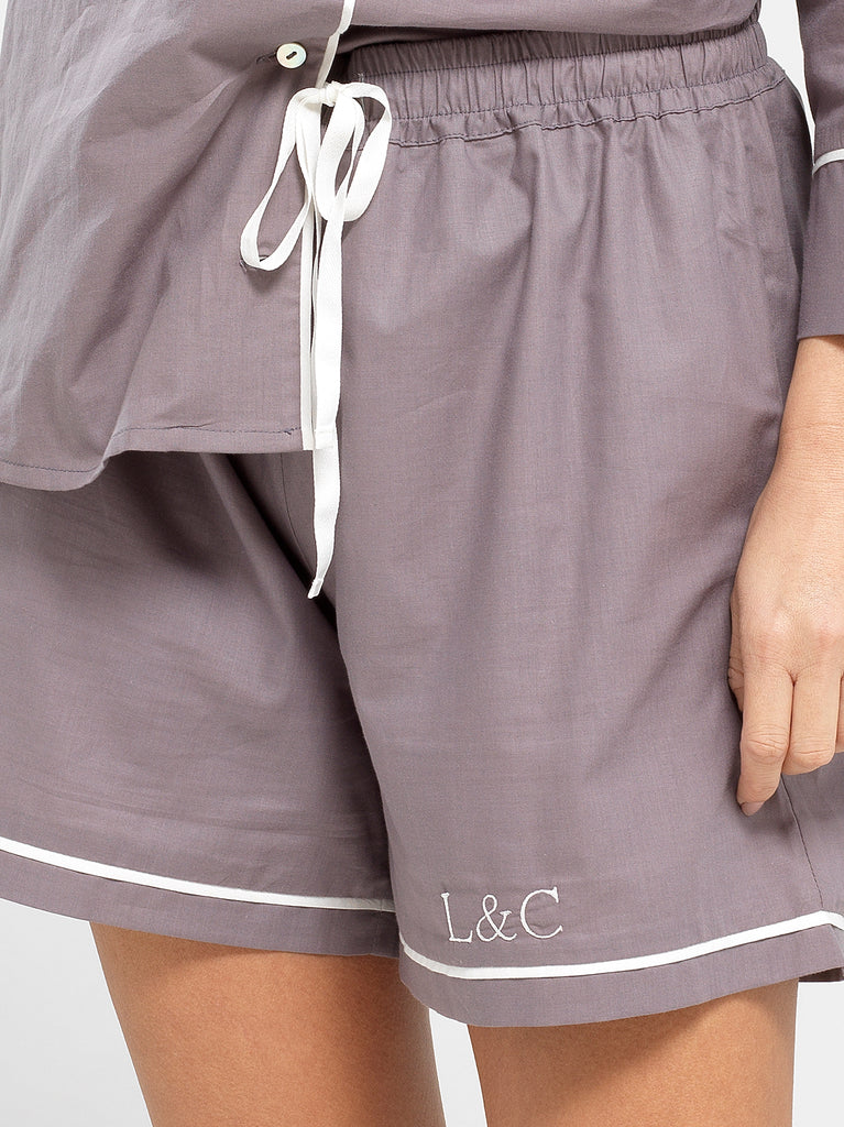 Sable Gray Luxury Monogrammed Women's Pyjama Shorts | Look & Cover