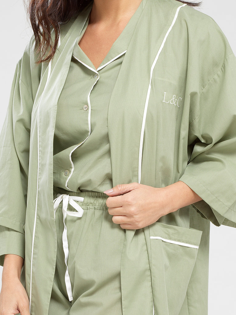 Sage Green Luxury Monogrammed Women's Dressing Gown | Look & Cover