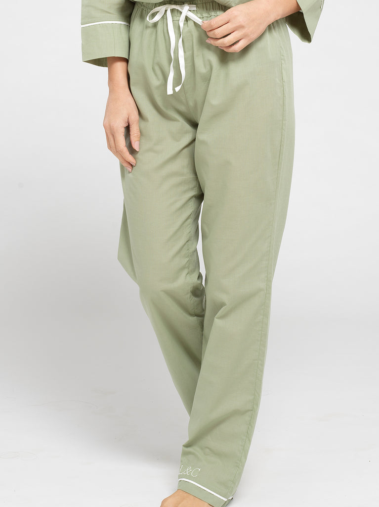 Sage Green Luxury Monogrammed Women's Pyjama Bottoms | Look & Cover