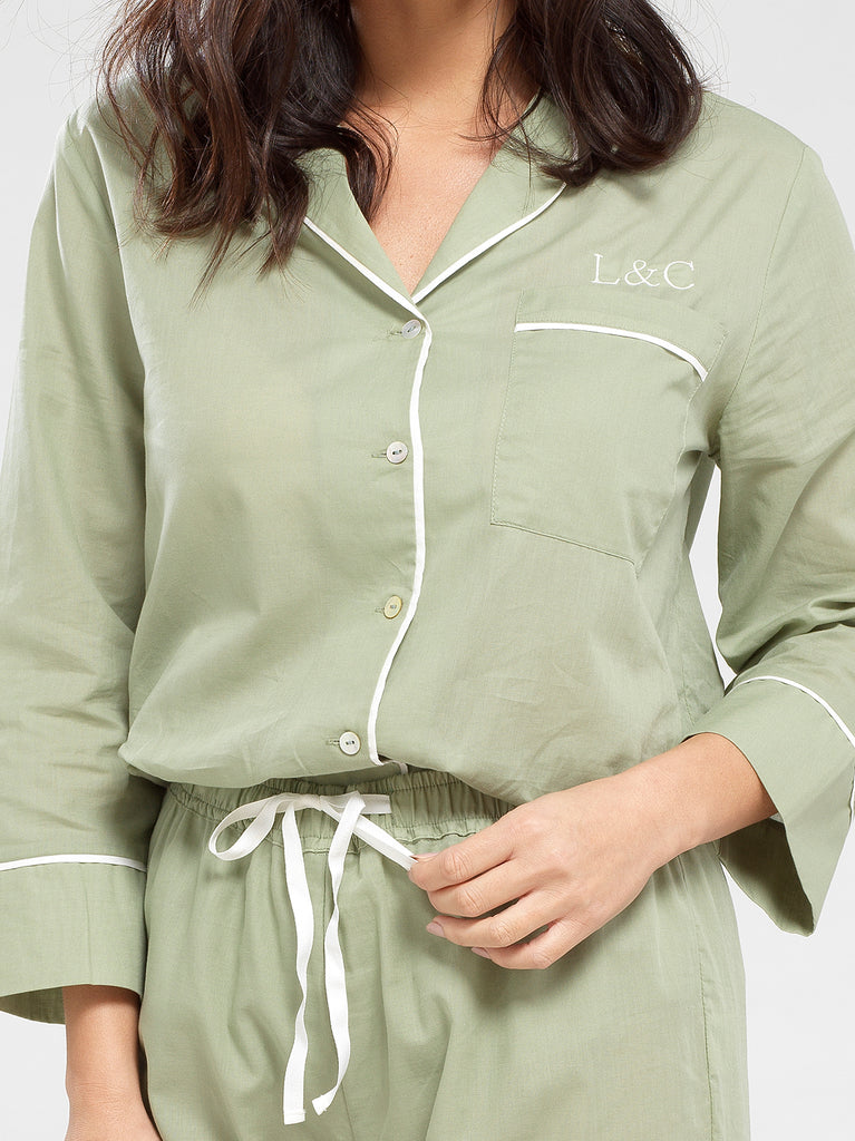 Sage Green Luxury Monogrammed Women's Pyjama Shirt | Look & Cover