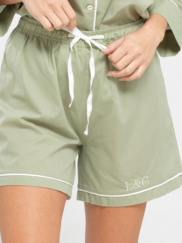 Sage Green Luxury Monogrammed Women's Pyjama Shorts | Look & Cover