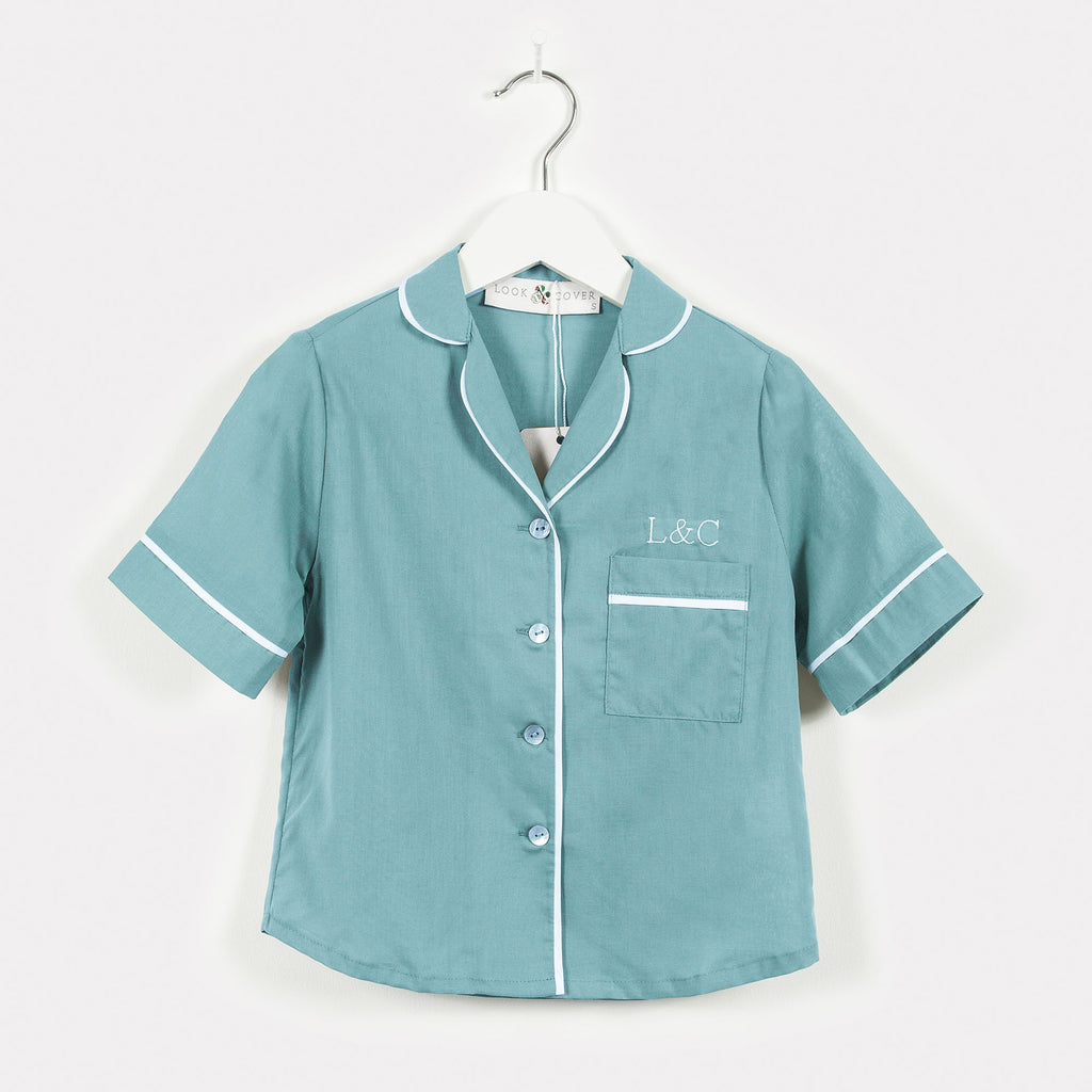 Seafoam Blue Luxury Monogrammed Children's Pyjamas | Look & Cover
