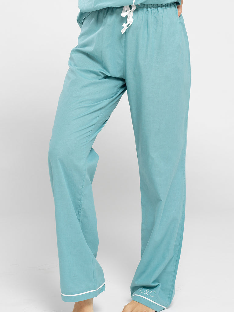 Seafoam Blue Luxury Monogrammed Women's Pyjama Bottoms | Look & Cover
