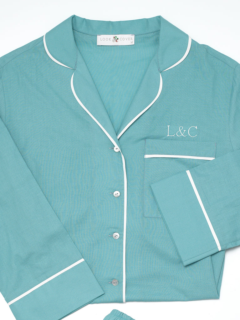 Seafoam Blue Luxury Monogrammed Women's Pyjama Shirt | Look & Cover