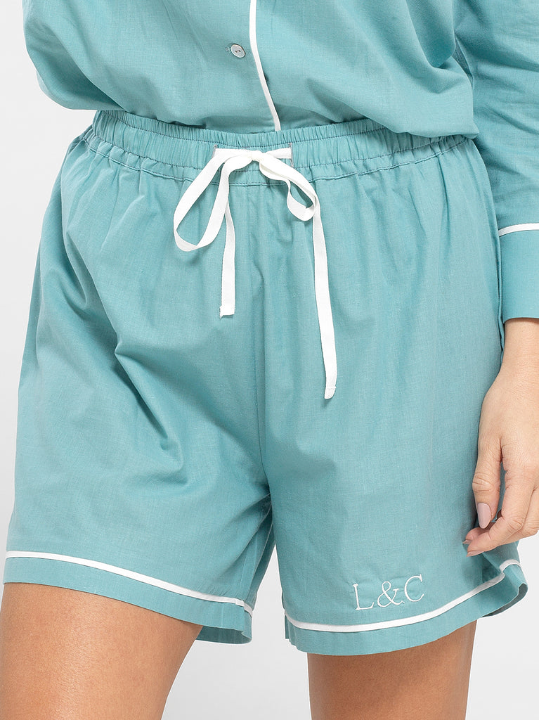 Seafoam Blue Luxury Monogrammed Women's Pyjama Shorts | Look & Cover