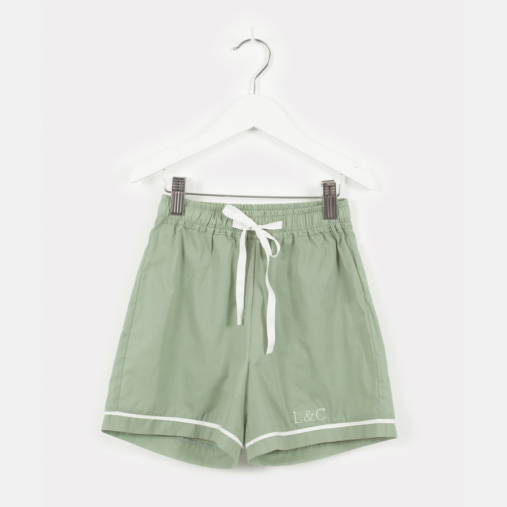 Sage Green Luxury Monogrammed Children's Pyjamas | Look & Cover