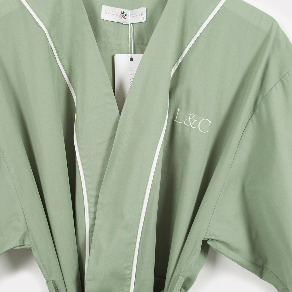 Soft Sage Green Luxury Monogrammed Women's Pyjama Dressing Gown | Look & Cover