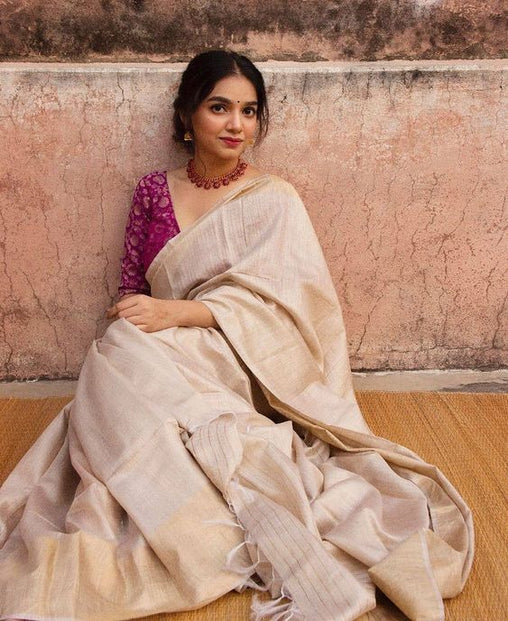 Ideal Cream Colored Casual Printed Linen Saree