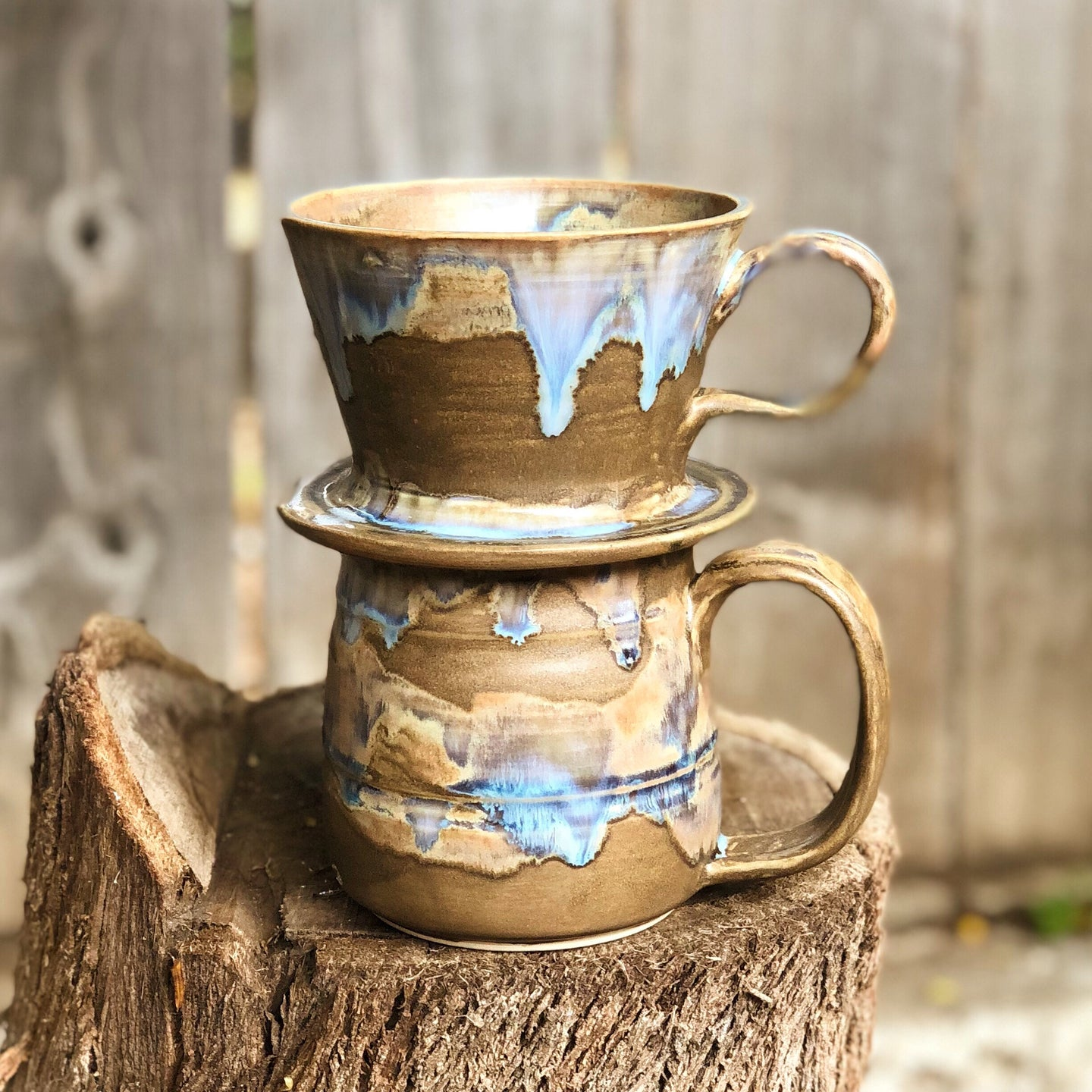 Chocolate Lava Ceramic Hand Pour Coffee Dripper and  Mug Set 15 oz - Hsiaowan Studios Handmade Ceramics Pottery