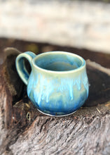 Load image into Gallery viewer, Aqua Blue Crystal Drippy Ceramic Coffee Espresso Mug 10 oz - Hsiaowan Studios Handmade Ceramics Pottery