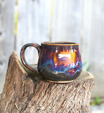 Load image into Gallery viewer, Aurora borealis - Drippy Purple Ceramic Mug 13- 14 oz Reserved for April - Hsiaowan Studios Handmade Ceramics Pottery