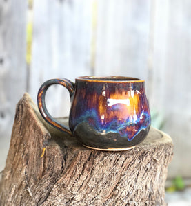 Aurora borealis - Drippy Purple Ceramic Mug 13- 14 oz Reserved for April - Hsiaowan Studios Handmade Ceramics Pottery
