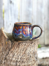 Load image into Gallery viewer, Aurora borealis N° 1- Drippy Purple Ceramic Mug 14 oz - Hsiaowan Studios Handmade Ceramics Pottery