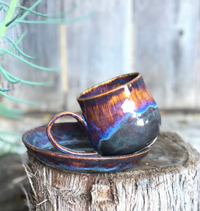 Aurora borealis - Breakfast Set Drippy Purple Ceramic Mug and Plate Set 13 oz - Hsiaowan Studios Handmade Ceramics Pottery
