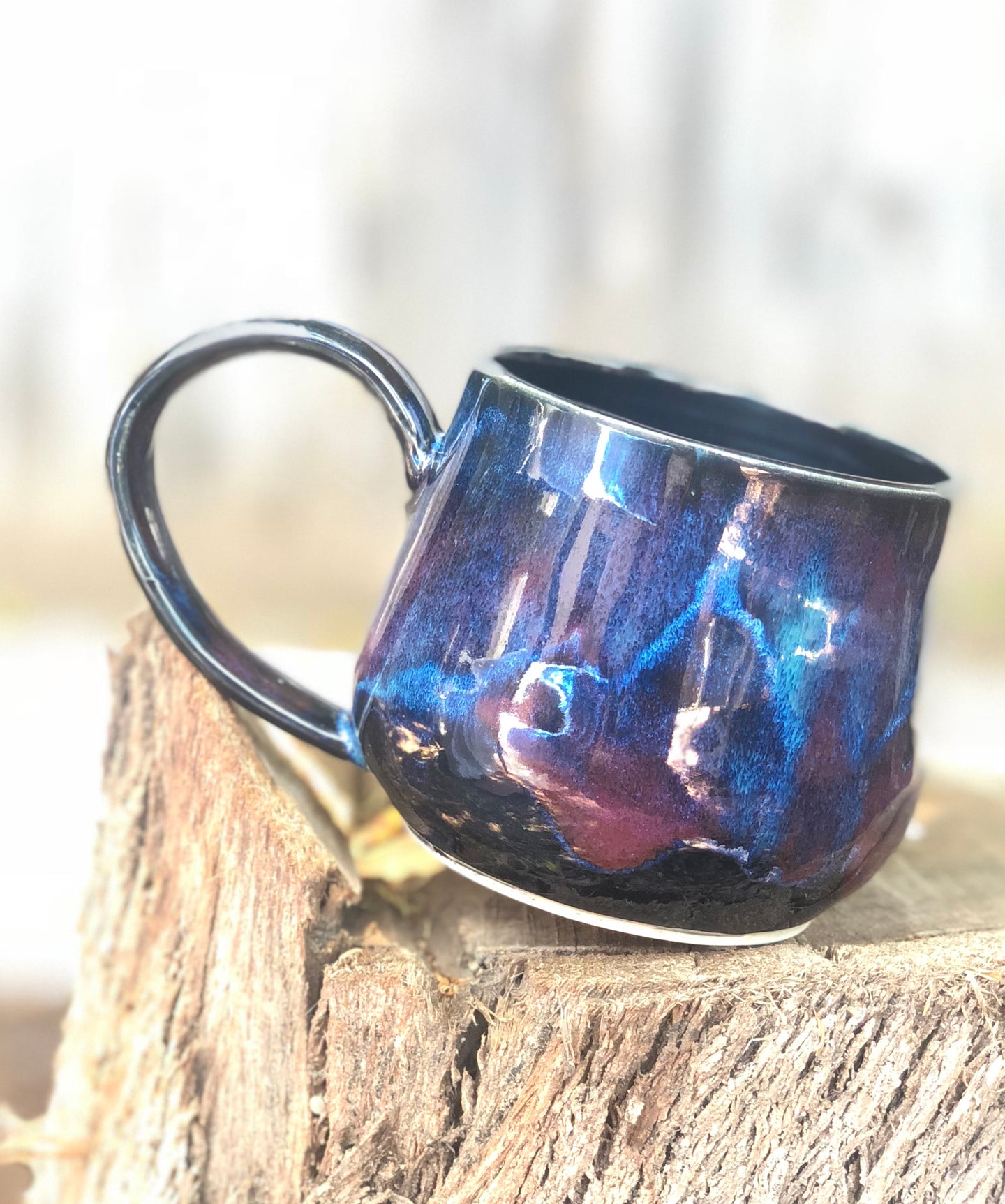 Dark Opal  - Multi Color Ceramic Mug 13 oz - Hsiaowan Studios Handmade Ceramics Pottery