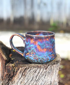 Faceted Aurora borealis N° 2 - Drippy Purple Ceramic Mug 14 oz - Hsiaowan Studios Handmade Ceramics Pottery