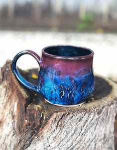 Dark Opal  - Hand carved Facet multi color  Ceramic Mug 12 oz - Hsiaowan Studios Handmade Ceramics Pottery