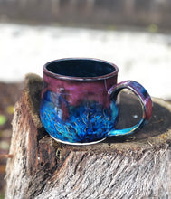 Load image into Gallery viewer, Dark Opal  - Hand carved Facet multi color  Ceramic Mug 12 oz - Hsiaowan Studios Handmade Ceramics Pottery