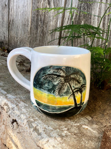 Ocean Series N°. 6 - White Ceramic Mug with Sgraffito Tropical Ocean at the sunset dusk, Handmade by Hsiaowan Studios - Hsiaowan Studios Handmade Ceramics Pottery