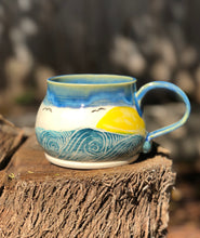 Load image into Gallery viewer, Ocean Series N°. 8 - Handmade Ceramic Mug with Sgraffito Whale and ocean - Hsiaowan Studios Handmade Ceramics Pottery