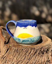 Load image into Gallery viewer, Ocean Series N°. 7 - Handmade Ceramic Mug with Sgraffito Sailing to  Tropical Ocean - Hsiaowan Studios Handmade Ceramics Pottery