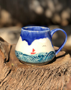 Ocean Series N°. 7 - Handmade Ceramic Mug with Sgraffito Sailing to  Tropical Ocean - Hsiaowan Studios Handmade Ceramics Pottery
