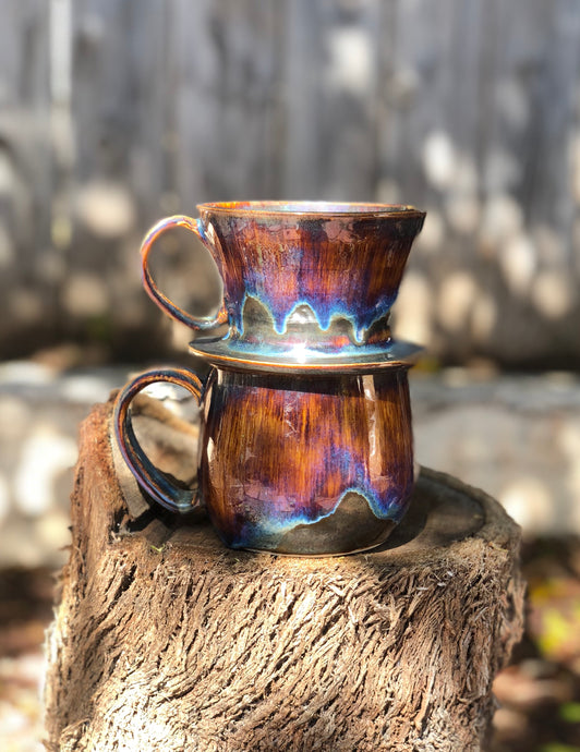 A Set Drippy Purple & Brown Ceramic Personal Coffee Dripper and Coffee Mug - Hsiaowan Studios Handmade Ceramics Pottery