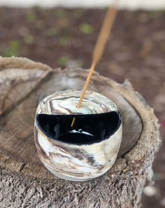 Planetary Series N°. 3 - Marbled Clay Ceramic Incense Burner / Palo Santo Holder - Hsiaowan Studios Handmade Ceramics Pottery